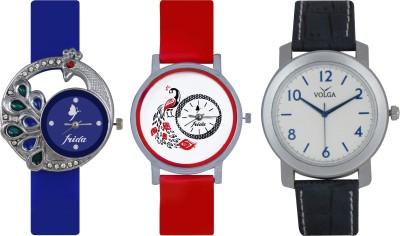 Frida Designer VOLGA Beautiful New Branded Type Watches Men and Women Combo486 VOLGA Band Analog Watch  - For Couple