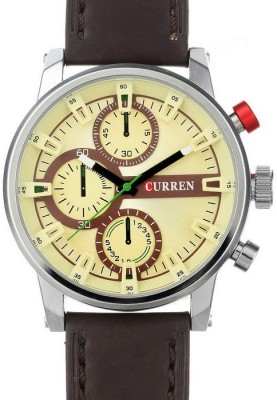 Curren Nx Luxury Colossal Beige & Brown Dial Analog Watch  - For Men, Boys