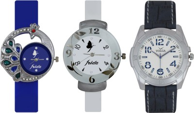 Frida Designer VOLGA Beautiful New Branded Type Watches Men and Women Combo536 VOLGA Band Analog Watch  - For Couple
