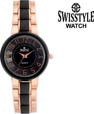 Swisstyle Rose Gold Bezel-SS-LR710-BLK-RGD Analog Watch  - For Girls