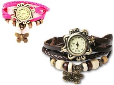 Opulent Vintage Butter fly pink-brown Analog Watch  - For Girls