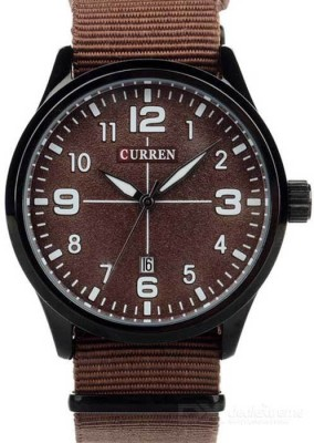 Curren Nx Brown Canvas Band Analog Watch  - For Men, Boys