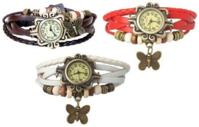 Opulent Vintage Butter fly red-brown-white Analog Watch  - For Girls