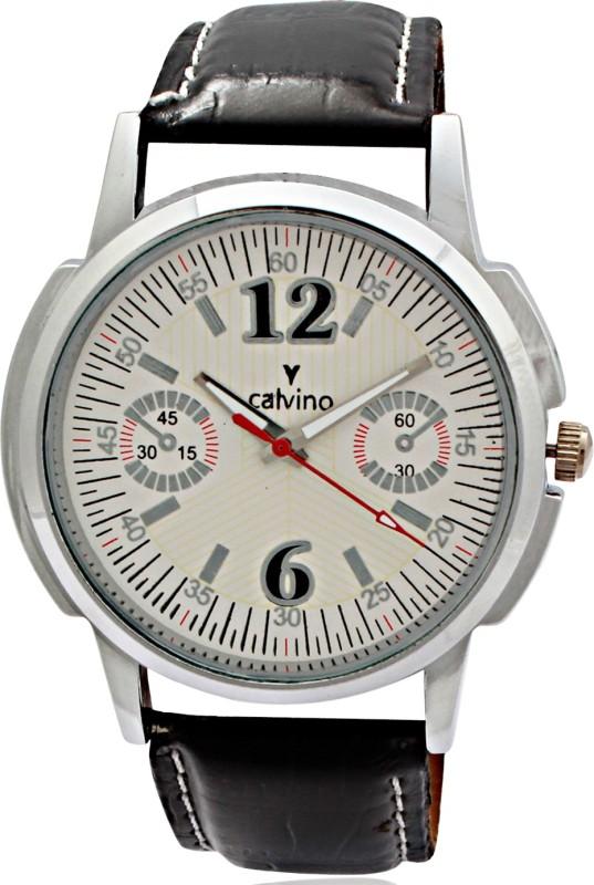 Calvino V1CGAS 1412118M12WhiteBlk Analog Watch For Men