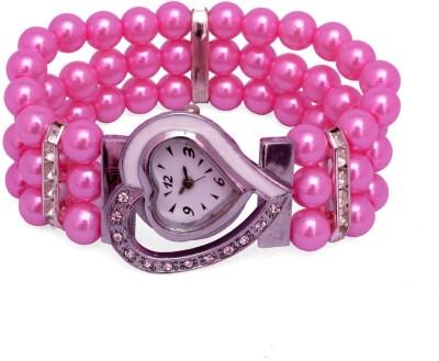 SHH Pink Moti Heart Design Bracelet Analog Watch  - For Women