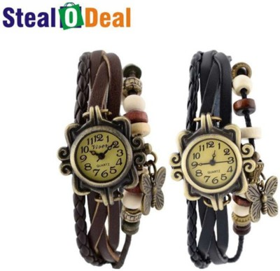 Stealodeal Black With Brown Rakhi Butterfly Analog Watch  - For Boys, Couple, Girls, Men, Women