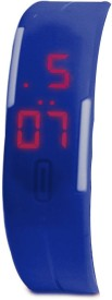 Kissu Led Magnet Band Combo of 4 Pink, Yellow, Red And Blue Digital Watch - For Men & Women