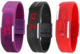intricate Led Band Watch Combo of 3 Purp...