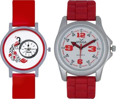 Frida Designer VOLGA Beautiful New Branded Type Watches Men and Women Combo151 VOLGA Band Analog Watch  - For Couple