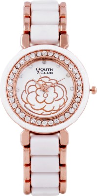 Youth Club Studded ceramic Pearl Analog Watch  - For Girls, Women