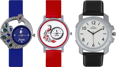 Frida Designer VOLGA Beautiful New Branded Type Watches Men and Women Combo487 VOLGA Band Analog Watch  - For Couple