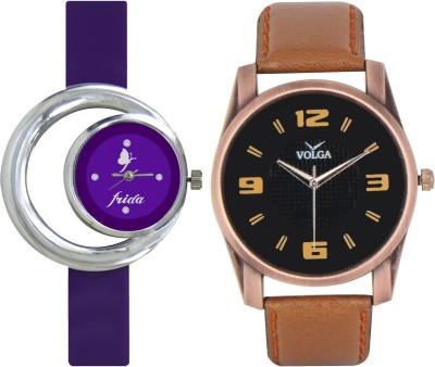 Frida Designer VOLGA Beautiful New Branded Type Watches Men and Women Combo127 VOLGA Band Analog Watch  - For Couple