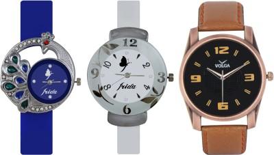 Frida Designer VOLGA Beautiful New Branded Type Watches Men and Women Combo534 VOLGA Band Analog Watch  - For Couple