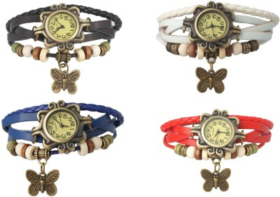 Codice Set Of 4 Watch Butterfly Analog Watch  - For Girls