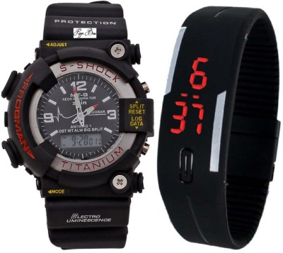 Pappi Boss Combo of 2 Multi-function Black S-Shock & Jelly Slim Silicone Rubber Led Analog-Digital Watch  - For Boys, Men