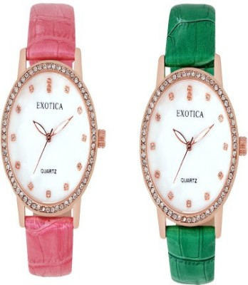 Exotica Fashions Combo-EFL-707-Green&Pink Basic Analog Watch  - For Women