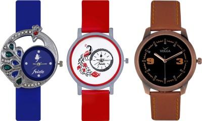 Frida Designer VOLGA Beautiful New Branded Type Watches Men and Women Combo496 VOLGA Band Analog Watch  - For Couple