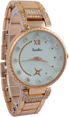 Addic Timiho Crystal Studded Gold Strap 19 Analog Watch  - For Women