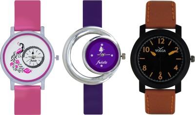 Frida Designer VOLGA Beautiful New Branded Type Watches Men and Women Combo568 VOLGA Band Analog Watch  - For Couple