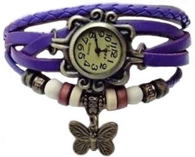 Zillion Vintage Butterfly Charm Bracelet Style Purple Analog Watch  - For Women, Girls