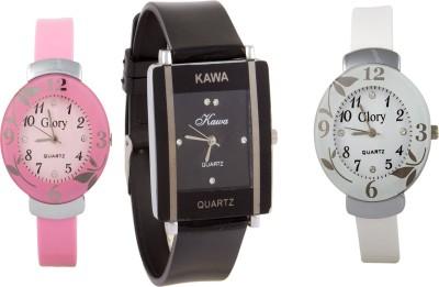 Kawa Addic Combo Of Three Watches- Pink And White Black Analog Watch  - For Women