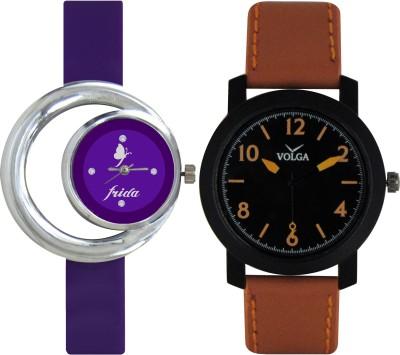 Frida Designer VOLGA Beautiful New Branded Type Watches Men and Women Combo124 VOLGA Band Analog Watch  - For Couple