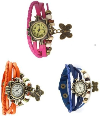 adiEstore CB_BL-OR-PI-003 Vintage BUtterfly Analog Watch  - For Girls, Women