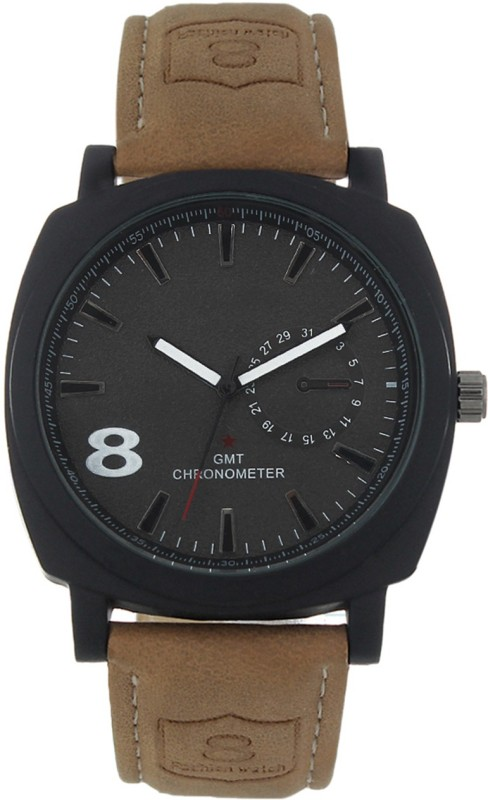 3WISH CUR LEATHER BLACK MILITARY Analog Watch For Men