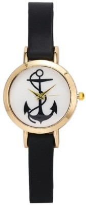 Zillion Small Anchor Print Dial Black Strap Analog Watch  - For Women, Girls