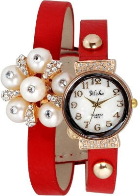 Yilisha Glittery Crystal White Red Modest Analog Watch  - For Women