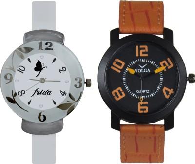 Frida Designer VOLGA Beautiful New Branded Type Watches Men and Women Combo199 VOLGA Band Analog Watch  - For Couple