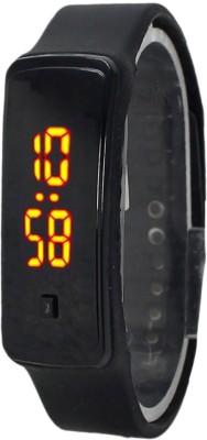 KMS Unisex Glass Led_Bravo_Black Digital Watch  - For Men, Women, Boys, Girls