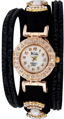 Yilisha Crystal Shimmer Black Modest Analog Watch  - For Women