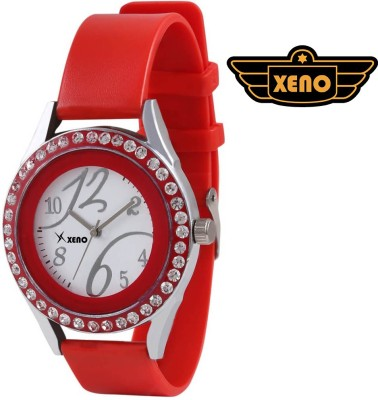 Xeno ZD000266 Diamond Studded Red Strap Women Analog Watch  - For Women, Girls