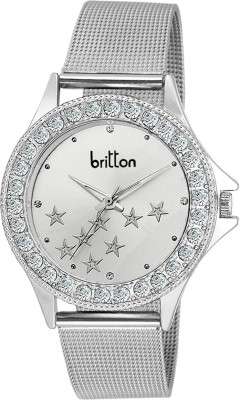BRITTON CRYSTAL STUDDED-BR-LR001-WHT-CH Analog Watch  - For Girls