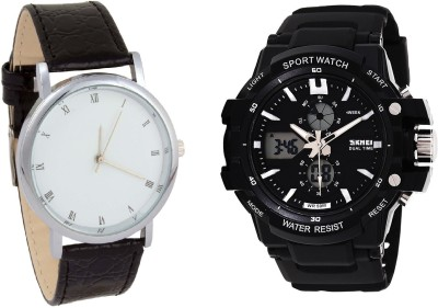 Skmei LIMITED COMBO SKMEI Dual Time Analog+Digital Watch for Men With Formal Watch C O - 04 Analog-Digital Watch  - For Men