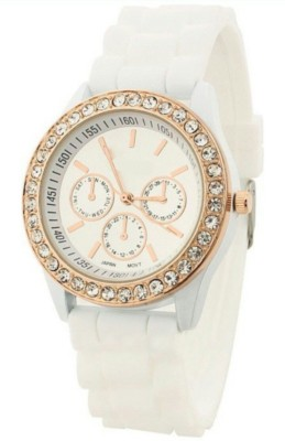 Zillion Diamond Bezel White Silicone Strap Analog Watch  - For Women, Girls