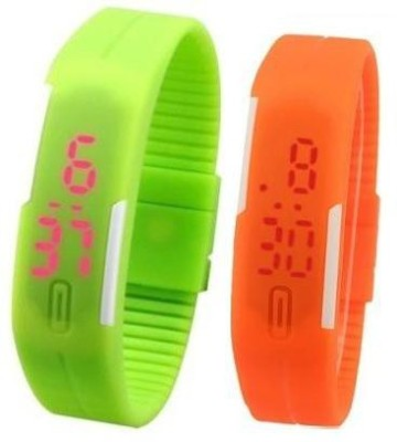 i-gadgets silicon orange and green led Digital Watch  - For Boys, Men