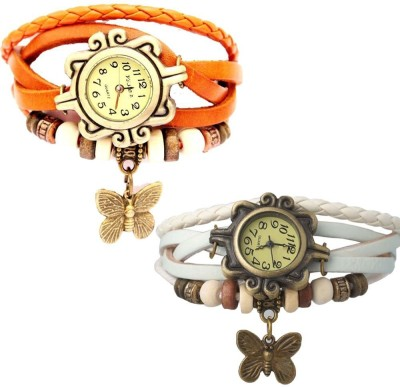 MIFY Attractive Pack of 2 butterfly (V)ORNG_(V)WHT Analog Watch  - For Girls, Women