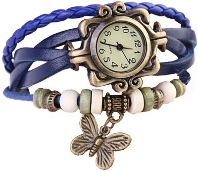 Pourni Vintage watch Blue Leather Analog Watch  - For Women