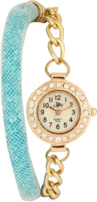 Addic Classy Crystal Filled Pipe Strap With Gold Chain-W112 Analog Watch  - For Women