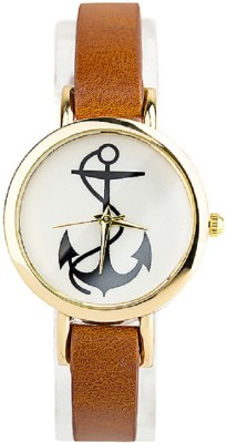 Zillion Small Anchor Print Dial Light Brown Strap Analog Watch  - For Women, Girls
