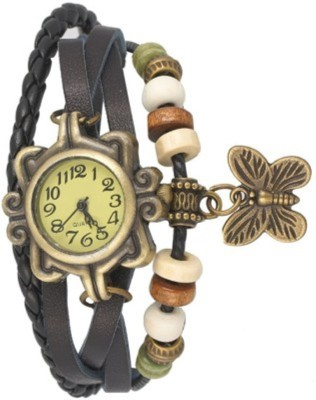 Edge Vintage Bracelet With Butterfly Charm Analog Watch  - For Girls, Women