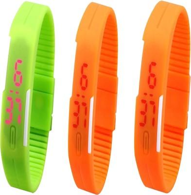 Twok Combo of Led Band Green + Orange + Orange Digital Watch - For Men & Women