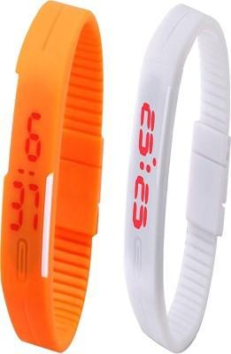 Opulent Combo of Led Band Orange + White Digital Watch  - For Boys, Couple, Girls, Men, Women