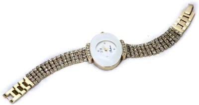 Abhilasha's Store White Big Oval Watch White Oval Stone Studded Watch Analog Watch  - For Girls, Women