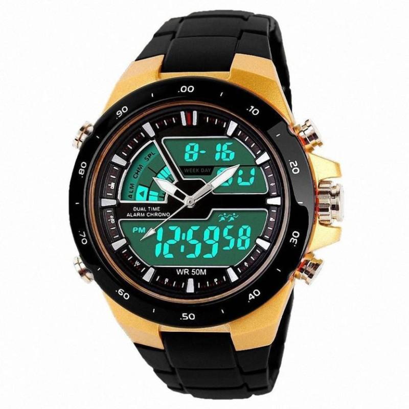 MM Skmei 1016 Gold Analog Digital Watch For Men