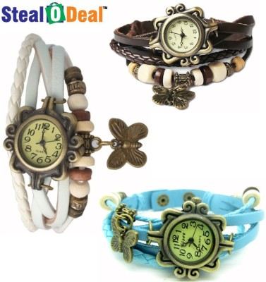 Stealodeal Different Colors Vintage Style Butterfly Analog Watch  - For Boys, Couple, Girls, Men, Women