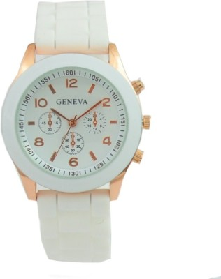 Geneva Quartz Cloud White Silicone Strap Analog Watch  - For Women, Girls