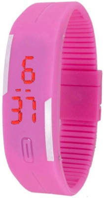 FabSale Led Magnet Rubber Wrist Band Pink Colour Digital Watch  - For Boys, Men, Girls, Women